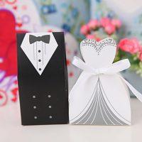 Μπομπονιέρα Νύφη και Γαμπρός με λευκή κορδέλα