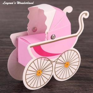 Μπομπονιέρα Καροτσάκι Μωρού Ροζ
