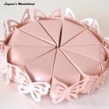Μπομπονιέρα Κουτάκι Πεταλούδα Τούρτα Ροζ