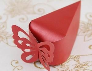 Μπομπονιέρα Πεταλούδα Τούρτα Κόκκινο