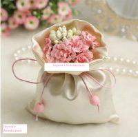 Μπομπονιέρα Πουγκί Σατέν με Λουλούδια & Κορδέλα - Ροζ