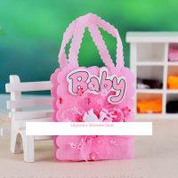 Μπομπονιέρα Βάπτισης Τσαντάκι Baby με Πελαργο Ροζ