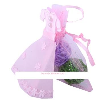 Μπομπονιέρα Γάμου - Βάπτισης Φόρεμα σε Πουγκί Οργάντζας