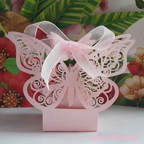 Μπομπονιέρα Γάμου - Βάπτισης Πεταλούδα Ροζ
