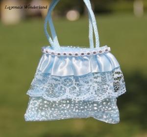 Μπομπονιέρα Γάμου - Βάπτισης Τσαντάκι με Στρας Μπλε