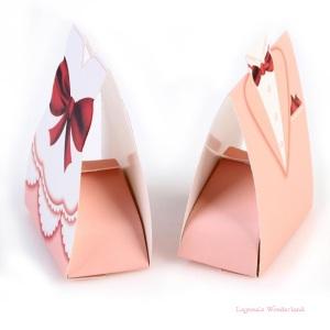 Μπομπονιέρα Γάμου Νύφη και Γαμπρός Ροζ με Κόκκινο