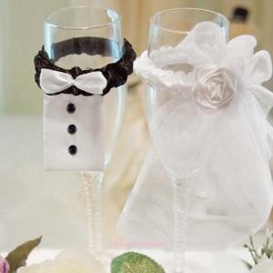 Νύφη και Γαμπρός Διακόσμηση Ποτηριού Σαμπάνιας
