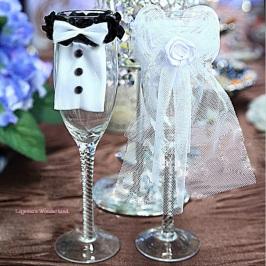 Νύφη και Γαμπρός Διακόσμηση Ποτηριού Σαμπάνιας ΚΩΔ: GR2000