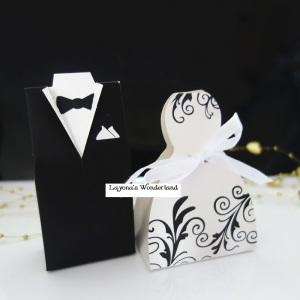 Μπομπονιέρα Γάμου Νύφη και Γαμπρός Μοντέρνο Ένδυμα