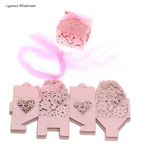 Μπομπονιέρα Ρομαντικό Κουτάκι Ροζ Ανοιχτό με Κορδέλες