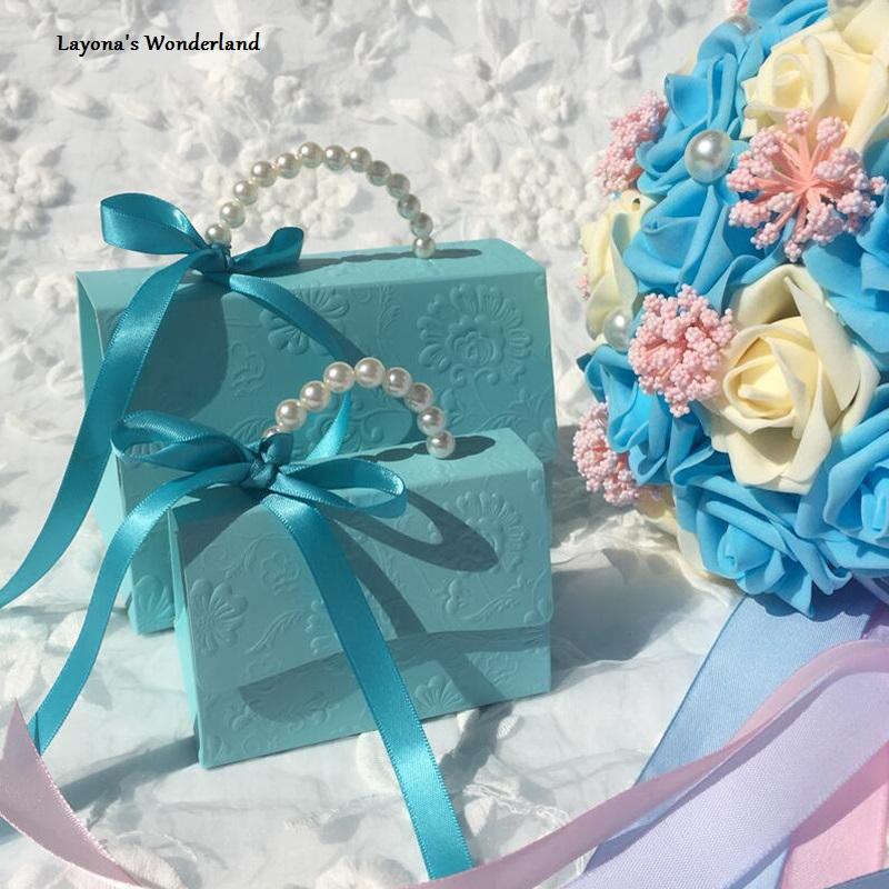 Μπομπονιέρα Τσάντα με Λουλούδια Μπλε