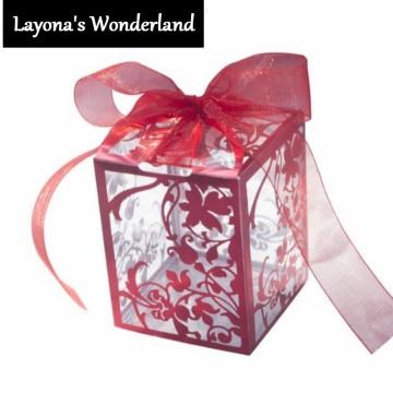 Μπομπονιέρα Διαφανές Ρομαντικό PVC Κουτάκι Κόκκινο-2