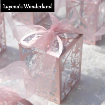 Μπομπονιέρα Διαφανές Ρομαντικό PVC Κουτάκι Ροζ