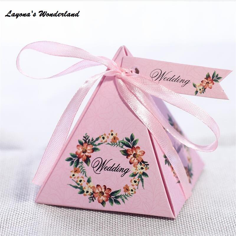 Μπομπονιέρα Γάμου Φλοράλ Πυραμίδα Ροζ